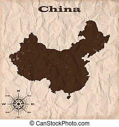 térkép, gyűrött, öreg, paper., ábra, vektor, kína, grunge