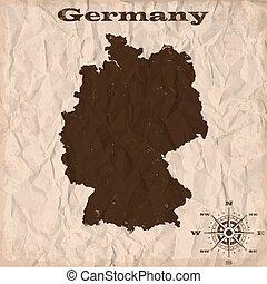 térkép, gyűrött, öreg, paper., ábra, vektor, németország, grunge