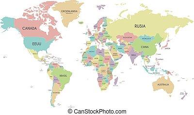 térkép háttér, ország, politikai, elszigetelt, ábra, címkével ellátott, vektor, címek, spanish., editable, világ, fehér, layers., világosan