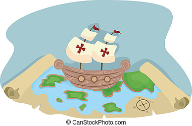 térkép, hajó, kalóz