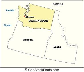 térkép, határos, washington, egyesült államok, állam, -e