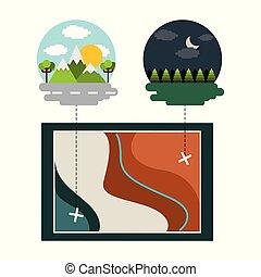 térkép, hegyek, reggel, erdő, éjszaka, táj, elhelyezés