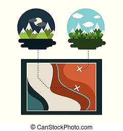 térkép, hegyek, utazás, bitófák, reggel, megüresedések, éjszaka