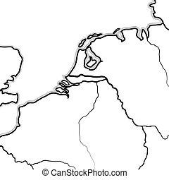 térkép, holland, luxemburg, geográfiai, (benelux)., lands:, németalföld, belgium, chart.