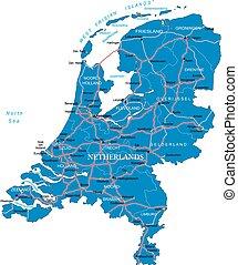 térkép, hollandia
