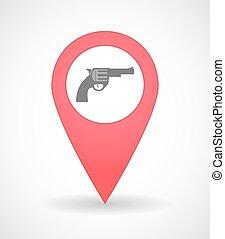 térkép, ikon, pisztoly, megjelöl