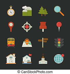 térkép, ikonok, lakás, tervezés, elhelyezés