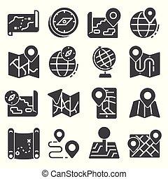 térkép, ikonok, set., vektor, elhelyezés, ábra