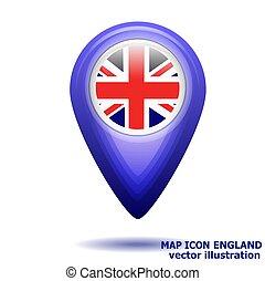 térkép, illustration., england., lobogó, vektor, ikon