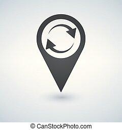 térkép, illustration., felfrissít, vektor, könyvjelző, icon.