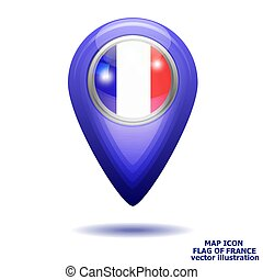 térkép, illustration., lobogó, france., vektor, ikon