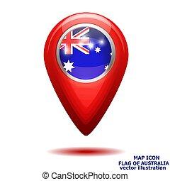 térkép, illustration., lobogó, vektor, australia., ikon