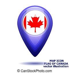 térkép, illustration., lobogó, vektor, canada., ikon