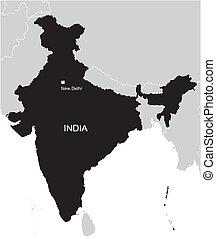térkép, india, fekete
