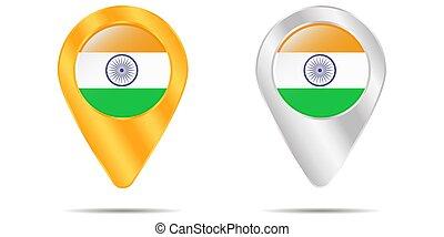 térkép, india., háttér., faszegek, vektor, lobogó, fehér