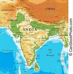 térkép, india-relief