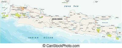térkép, indonéz, feketekávé, sziget, nemzeti park, vektor, közútak, 2