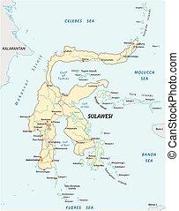térkép, indonéz, sulawesi, sziget, vektor, közútak