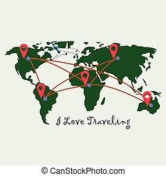 térkép, irányzók, elhelyezés, piros, világ
