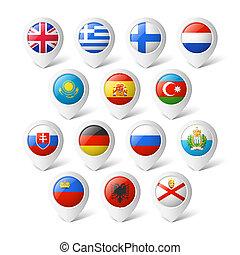 térkép, irányzók, flags., europe.