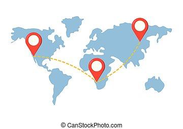 térkép, irányzók, vektor, elhelyezés, ábra