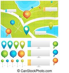 térkép, irányzók, vektor, elhelyezés