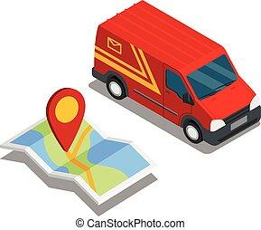 térkép, isometric, furgon, rakomány, autó, felszabadítás teherkocsi, elhelyezés, 3