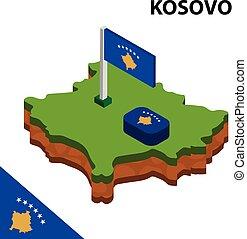 térkép, isometric, kosovo., ábra, lobogó, vektor, 3