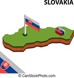 térkép, isometric, slovakia., ábra, lobogó, vektor, 3