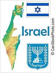 térkép, israel lobogó, bőr