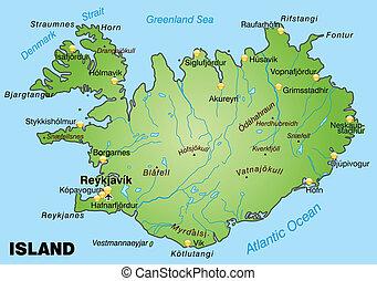 térkép, izland
