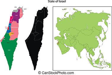 térkép, izrael