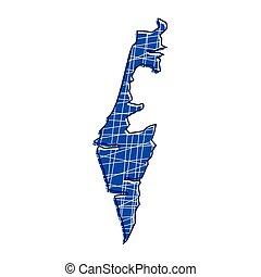 térkép, izrael, színezett