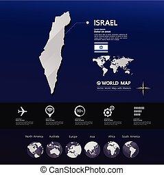 térkép, izrael, vektor