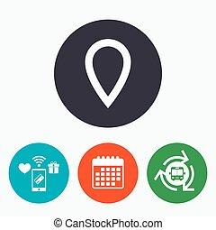 térkép, jelkép., aláír, könyvjelző, icon., mutató