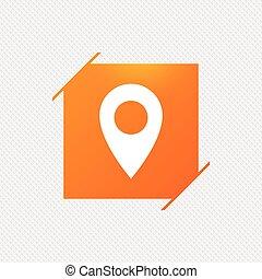 térkép, jelkép., elhelyezés, icon., mutató, gps