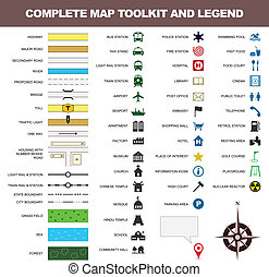 térkép, jelkép, toolkit, aláír, jelmagyarázat, ikon
