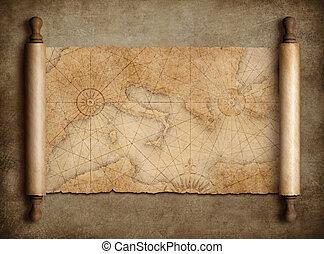 térkép, középkori, szüret, tengertől távol eső, asztal, felcsavar