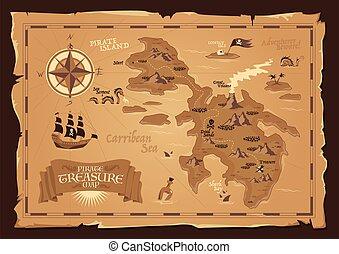 térkép, kalóz, mód, szüret