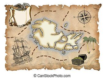 térkép, kalóz