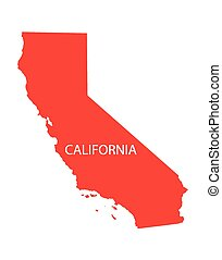 térkép, kalifornia, piros
