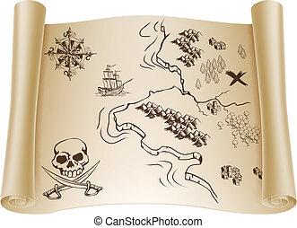 térkép, kincs, öreg, felcsavar