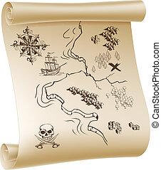 térkép, kincs, kalóz