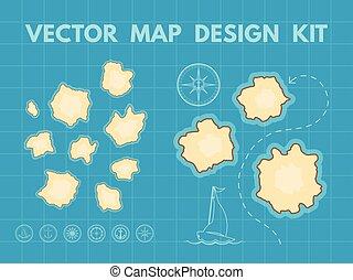 térkép, kincs, vektor, alkotó