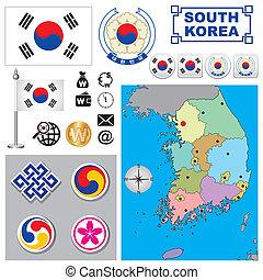 térkép, korea south