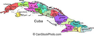 térkép, kuba