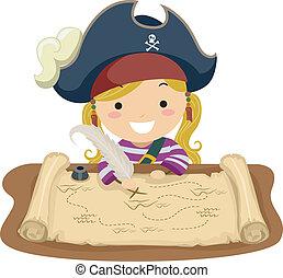 térkép, leány, kalóz