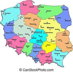 térkép, lengyelország