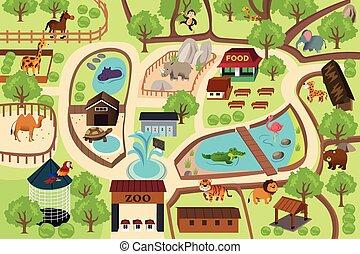 térkép, liget, állatkert