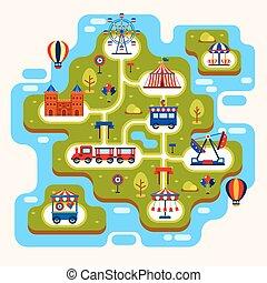 térkép, liget, szórakozás, vonzások
